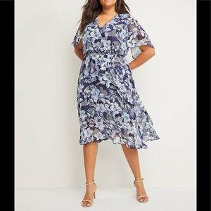 NWT Lane Bryant Floral Chiffon Midi Dress size 26